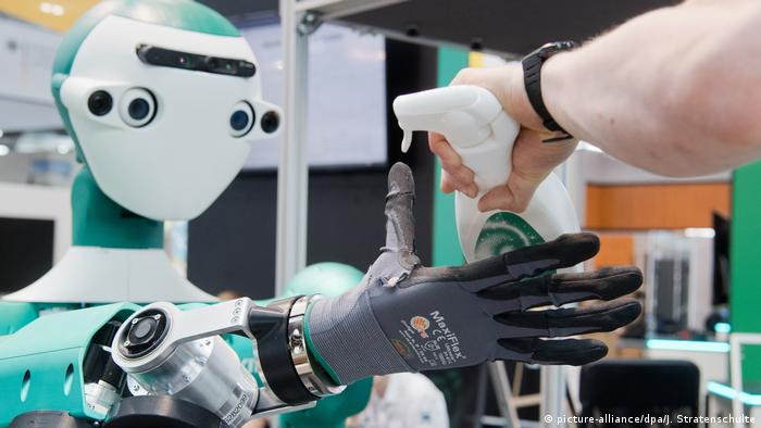 robot interacting with human at CEBIT