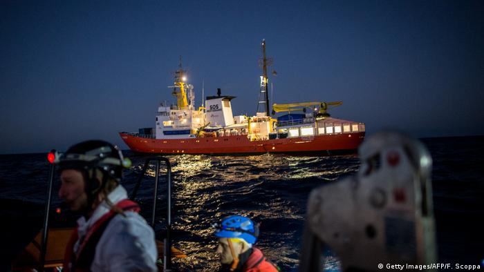 The ship 'Aquarius' performing a rescue operation in the Mediterranean Sea