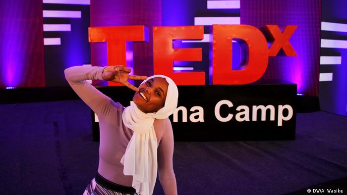 Model Halima Aden at the TEDx conference in Kakuma Camp