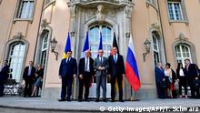 (L-R) Minister of Foreign Affairs of Ukraine Pavlo Klimkin, French Minister of Europe and Foreign Affairs Jean-Yves Le Drian, German Federal Minister for Foreign Affairs Heiko Maas and Russian Minister of Foreign Affairs Sergey Lavrov pose for a picture at Villa Borsig in Berlin on June 11, 2018, ahead of a Normandy Format meeting on the conflict in Ukraine. (Photo by Tobias SCHWARZ / AFP) (Photo credit should read TOBIAS SCHWARZ/AFP/Getty Images)