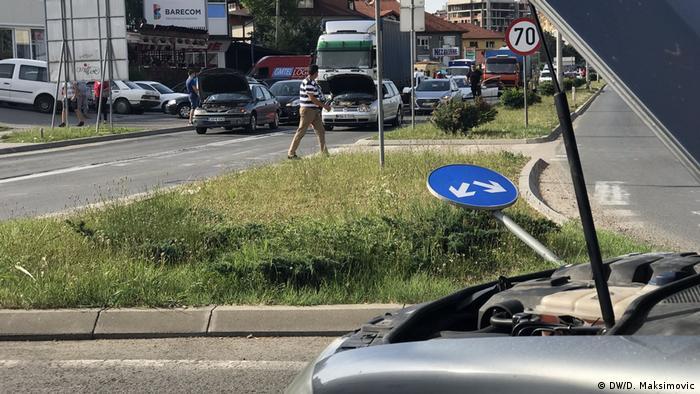 Bosnien Herzegowina - Proteste in Banjaluka wegen stark erhöhten Kraftstoffpreisen (DW/D. Maksimovic)