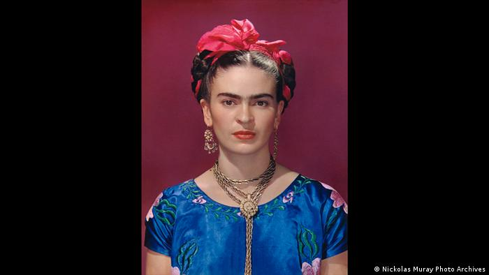 Frida Kahlo in blue satin blouse, 1939 (Nickolas Muray Photo Archives)