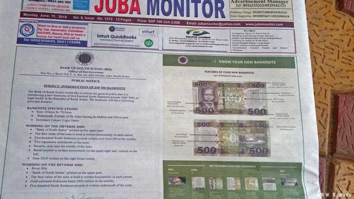 Front page of the Jubs Monitor newspaper showing the new banknote (W. S. Wudu)