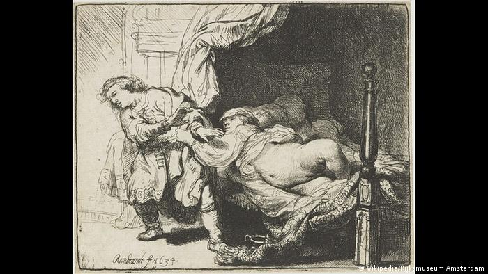 Engraving of a person trying to drag another person from a bed Joseph and Potiphar's Wife | Radierung von Rembrandt (Wikipedia/Rijksmuseum Amsterdam)