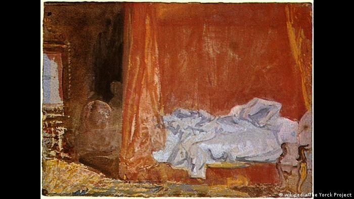 Painting of bed with rumpled sheets (wikipedia/The Yorck Project)