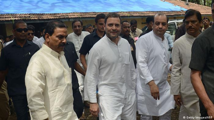 India's Congress leader Rahul Gandhi (C) leaves after appearing in a criminal defamation case at a magistrate court in Bhiwandi.