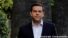 12.06.2018 +++ Greek Prime Minister Alexis Tsipras leaves the Presidential Palace following his meeting with Greek President Prokopis Pavlopoulos (not pictured) in Athens, Greece, June 12, 2018. REUTERS/Alkis Konstantinidis
