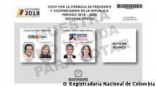 Wahlzettel Kolumbien für Wahlen am 17.06.2018