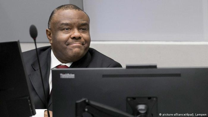 Former rebel leader Jean-Pierre Bemba in a courtroom in The Hague's ICC