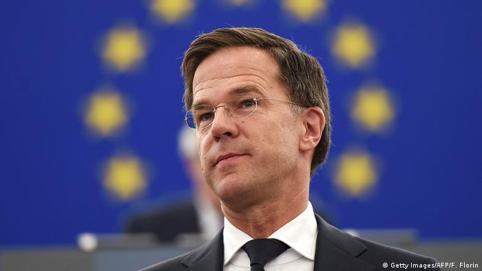 Mark Rutte before the EU flag in Strasbourg (Getty Images/AFP/F. Florin)