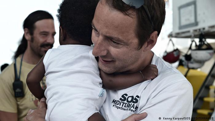 People on the Aquarius ship operated by NGO SOS Mediterranee