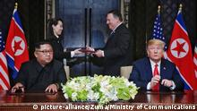 Singapur USA-Nordkorea Gipfel Trump Pompeo (picture-alliance/Zuma/Ministry of Communications)