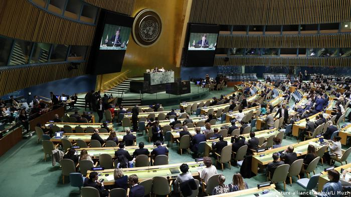 The UN general assembly sits in their chairs (picture-alliance/Xinhua/Li Muzi)