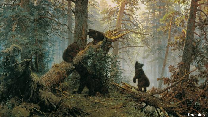 a painting of a forest scene with bears climbing a fallen tree