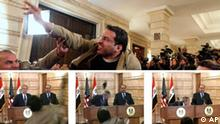 ** FILE ** In this Dec. 14, 2008 file photo, Iraqi journalist Muntadhar al-Zeidi throws a shoe at President George W. Bush during a new conference with Iraq Prime Minister Nouri al-Maliki in Baghdad, Iraq. (AP Photo/Evan Vucci, File) *** In this series of file images made from APTN video, Muntadar al-Zeidi, a correspondent for Al-Baghdadia television, foreground center, throws a shoe at U.S. President George W. Bush, background left, during a news conference in Baghdad with Iraq Prime Minister Nouri al-Maliki, background right, in this Sunday, Dec. 14, 2008 file photo. The man threw two shoes at Bush, one after another, and was then taken into custody. Neither man was hit. In Iraqi culture, throwing shoes at someone is a sign of contempt. A judicial spokesman says a new trial date has been set for the Iraqi journalist who threw his shoes at then-President George W. Bush. (AP Photo/APTN, File) ** Three images placed in chronological order from left to right **