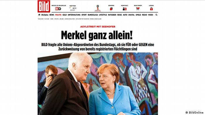 Bild headline about Merkel