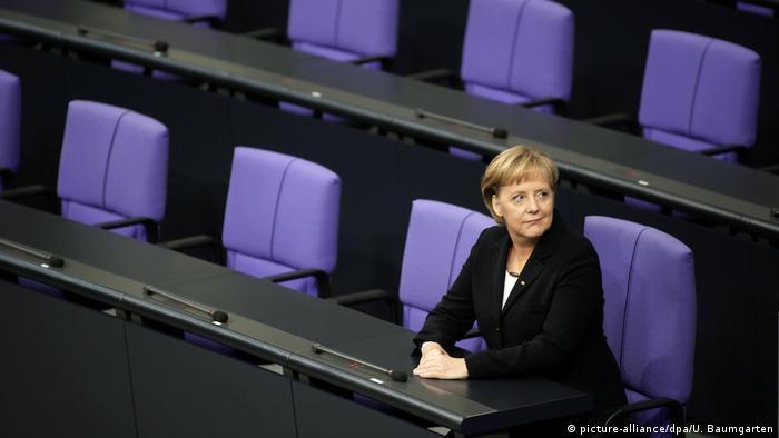 Меркель в правительственной ложе бундестага