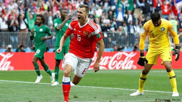 Russland, WM 2018: Russland-Saudi Arabien,Tor 2 für Russland durch Denis Cheryshev (Reuters/C. Recine)