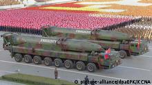 FILE- A picture released by the North Korean Central News Agency (KCNA) on 12 October 2015 shows large missiles, believed to be KN-08 intercontinental ballistic missiles, appearing during a large-scale military parade at Pyongyang's Kim Il-sung Square, in Pyongyang, North Korea, 10 October 2015, to mark the 70th anniversary of the founding of the ruling Workers' Party of Korea. EPA/KCNA -- BEST QUALITY AVAILABLE -- SOUTH KOREA OUT (Zu dpa Nordkoreas Drohung mit der Atombombe: Wohin steuert Kim Jong Un?) |