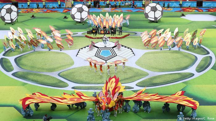 نمایی از مراسم افتتاحیه جام جهانی ۲۰۱۸ روسیه در ورزشگاه لوژنیکی در مسکو