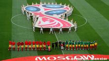Soccer Football - World Cup - Group A - Russia vs Saudi Arabia - Luzhniki Stadium, Moscow, Russia - June 14, 2018 Players line up before the match REUTERS/Maxim Shemetov TPX IMAGES OF THE DAY