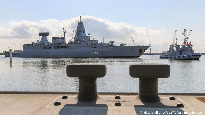 A German frigate at the port of Wilhelmshaven in the state of Lower Saxony