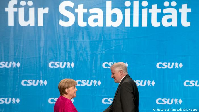Merkel and Seehofer during campaigning in Bavaria