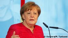 German Chancellor Angela Merkel speaks during the 70 Years of Social Market Economy anniversary event at the Federal Ministry for Economic Affairs and Energy in Berlin, Germany, June 15, 2018. REUTERS/Michele Tantussi