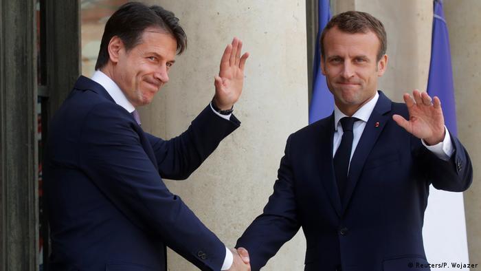 French President Emmanuel Macron welcomes Italian Prime Minister Giuseppe Conte