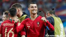 15.6.2018*** Soccer Football - World Cup - Group B - Portugal vs Spain - Fisht Stadium, Sochi, Russia - June 15, 2018 Portugal's Cristiano Ronaldo celebrates scoring their second goal with team mates REUTERS/Murad Sezer