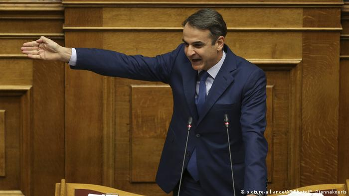 Griechenland Parlament Rede Kyriakos Mitsotakis ND (picture-alliance/AP Photo/P. Giannakouris)