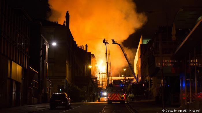 The Mackintosh Building at the Glasgow School of Art ablaze for the second time in four years