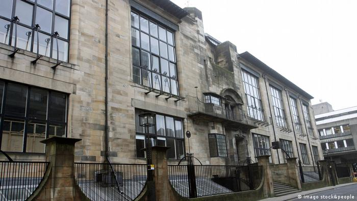 The Mackintosh Building blackened by smoke following a fire there in 2014
