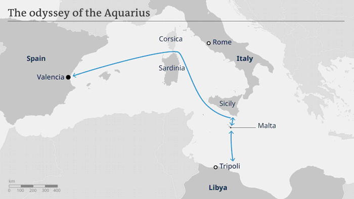 Libya To Italy Map.Aquarius Migrant Rescue Ship Returns To Libyan Coast News Dw