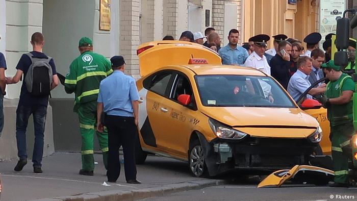 A view shows a damaged taxi, which ran into a crowd of people, in central Moscow.