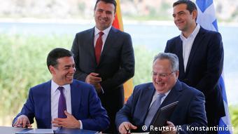 Nikos Kotzias, Nikola Dimitrov, Alexis Tsipras i Zoran Zaev