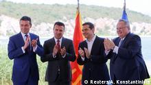 Griechenland - Die beiden Außenminister Nikos Kotzias und Nikola Dimitrov vor Alexis Tsipras und Zozan Zaev