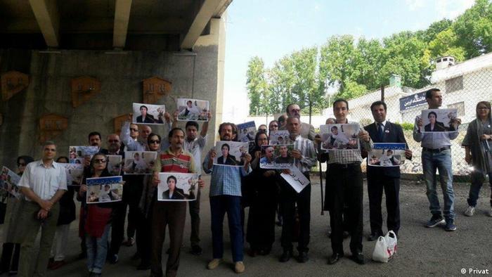 Iran Teheran - Protest gegen Verhaftung von Nasrin Sotoudeh vor Ewin Gefängnis (Privat)