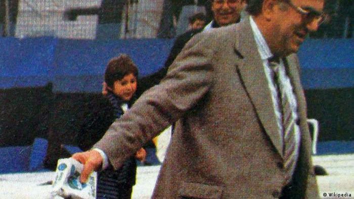 Romeo Anconetani strewing salt on the soccer field (Wikipedia)