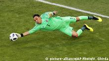Costa Rica goalkeeper Keylor Navas saves his goal during the group E match between Costa Rica and Serbia at the 2018 soccer World Cup in the Samara Arena in Samara, Russia, Sunday, June 17, 2018. (AP Photo/Vadim Ghirda) |