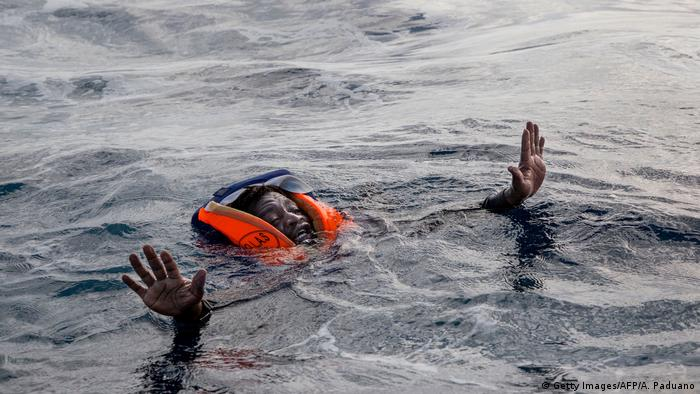 A migrant in the sea after a shipwreck (Getty Images/AFP/A. Paduano)