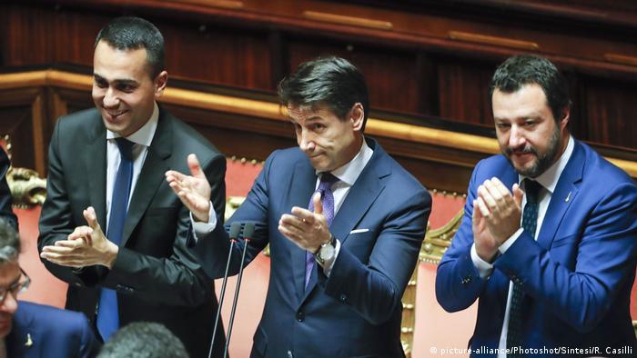 Italien Luigi Di Maio, Giuseppe Conte und Matteo Salvini