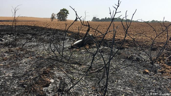 Field in Israel burned from flaming kite (DW/T. Kraemer)