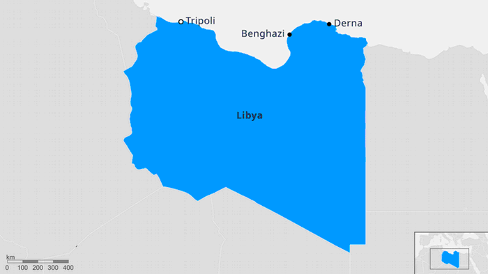 A map of Libya showing major cities