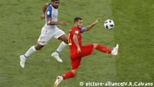 Belgium's Eden Hazard, right, lunges for the ball against Panama's Gabriel Gomez during the group G match between Belgium and Panama at the 2018 soccer World Cup in the Fisht Stadium in Sochi, Russia, Monday, June 18, 2018. (AP Photo/Victor R. Caivano) |