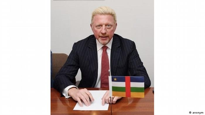 Boris Becker with CAR flag