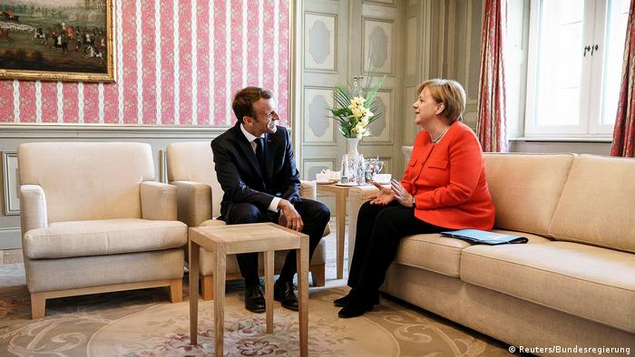 Ангела Меркель и Эмманюэль Макрон во дворце Мезеберг 19 июня