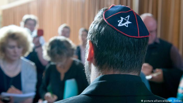A man wearing a kippah at the trial in Berlin