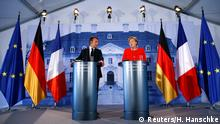 Deutschland, Meseberg, Pressekonferenz, Angela Merkel, Emmanuel Macron, Meseberg Palast,