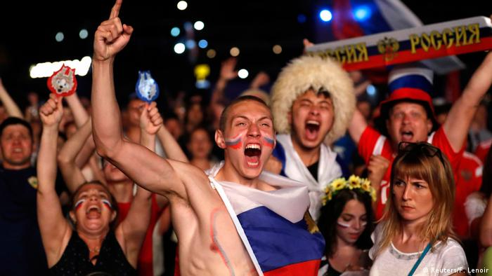 Russia fans cheer during the World Cup match against Egypt